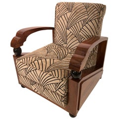 France 1930s Geometric Art Deco Club Chairs, Upholstery with Art Deco Pattern
