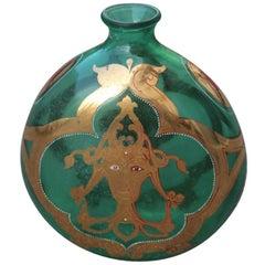 Murano Glass Bottle 1950 Italian Mid-Century Modern Design Gold