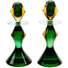 Italian Gold and Emerald Glass Candlesticks by Flavio Poli for Seguso
