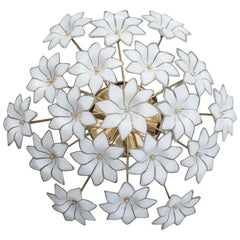 Italian Ceiling Lamp White Flowers Murano Glass Gold-Plated, 1970s