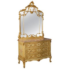Venetian Dresser with Mirror in Lacquered, Gilt, Painted Wood from 20th Century