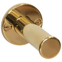 Retractable Wall Mounted Valet Hook or Dressing Room Hook, Polished Brass
