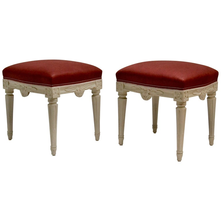 Pair of Swedish Gustavian Stools, 18th Century