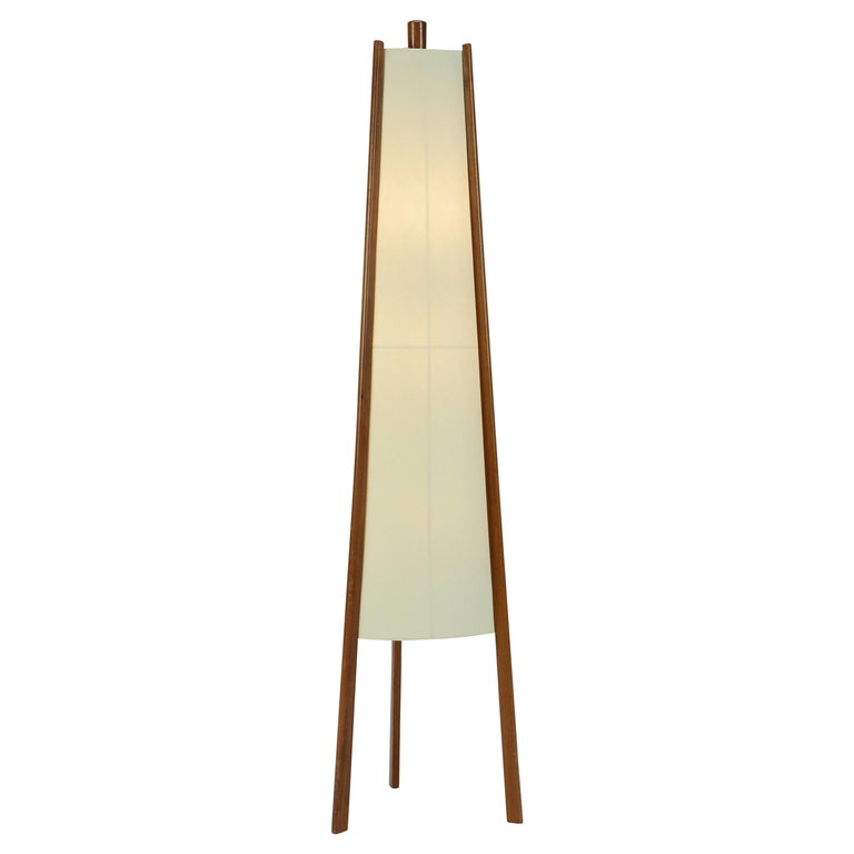 Swiss Floor Lamp Walnut, 1950s