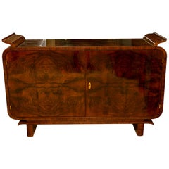 Very Elegant Art Deco Tulip Sideboard in Walnut, 1930s, Bohemia