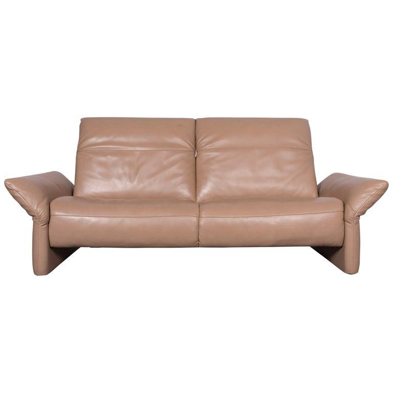 Koinor Elena Designer Three-Seat Sofa Beige Leather Function Couch