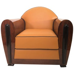 France 1930s Typic Art Deco Club Chairs, High Gloss Lacquer and Orange Leather