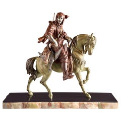 The Arabian Hunter, Cold Painted Metal Statue by Barge