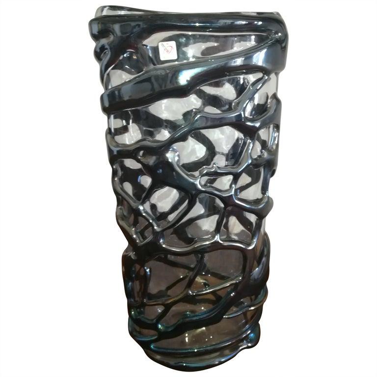 Italian Iridiscent Glass Blown Vase For Sale At 1stdibs