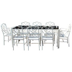 1970s Spanish Iron Eight-Seat Bamboo Style Dining Room Set and Coffee Table