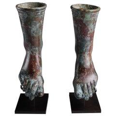 Ancient Roman Bronze Feet, 100 AD