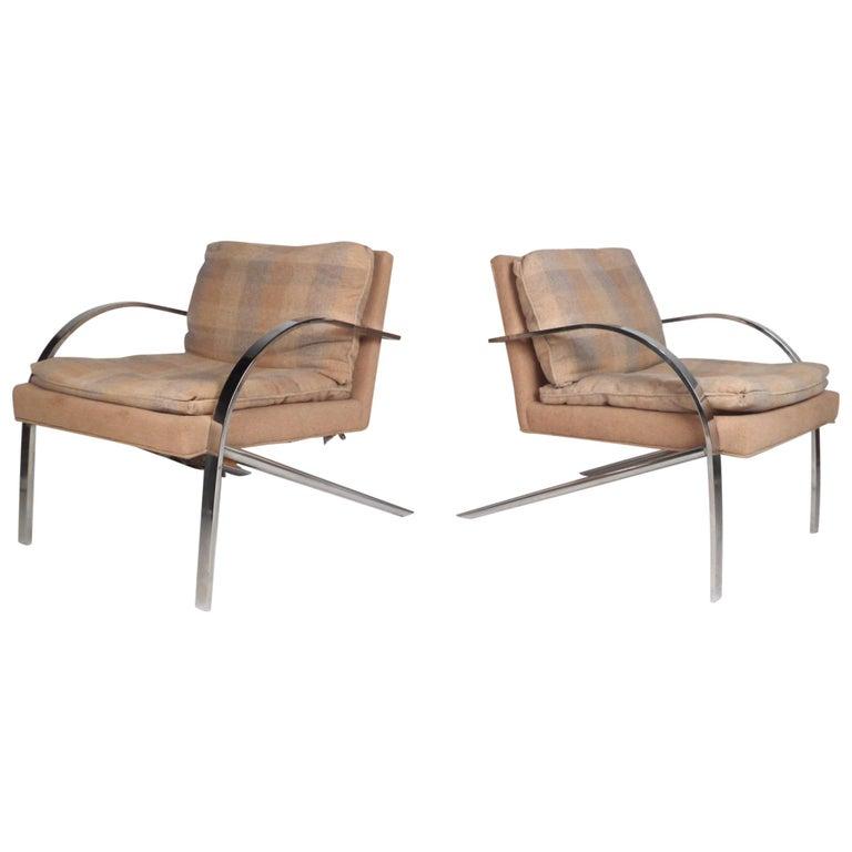 Mid-Century Milo Baughman Style Lounge Chairs