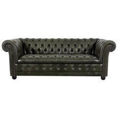 Chesterfield Leather Sofa Set Green Three-Seat Club Chair