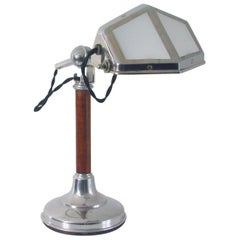 1920s French Art Deco Pirouette Chrome Wood and Glass Table Lamp