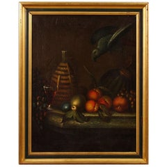 French Still Life Painting Oil on Canvas from 19th Century