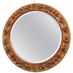 Chelini Firenze Italian Circular Mirror Della Robbia Renaissance Style 1980s