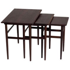 Nest of Tables in Rosewood, Danish Architect, Signed Amager Bolighus, circa 1960