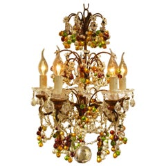 20th Century Small Five-Light Italian Multicolored Crystal Chandelier