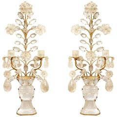 Pair of Two-Light Rock Crystal Sconces