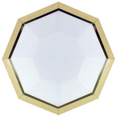 Midcentury German Limburg Brass and Milk Glass Octagonal Sconce Flush Mount
