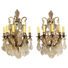 19th Century Pair of Bronze French Wall Sconces Hung with Crystal