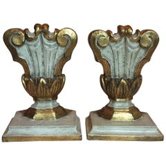 Late-20th Century Pair of Italian Lamp Bases Porta Palme Carved Painted Vases