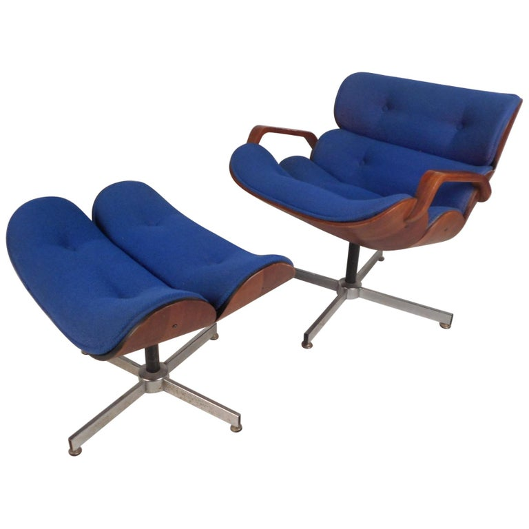 Mid-Century Modern Eames Style Swivel Lounge Chair and Ottoman