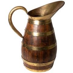 19th Century Antique English Brass Bound Oak Tavern Pitcher