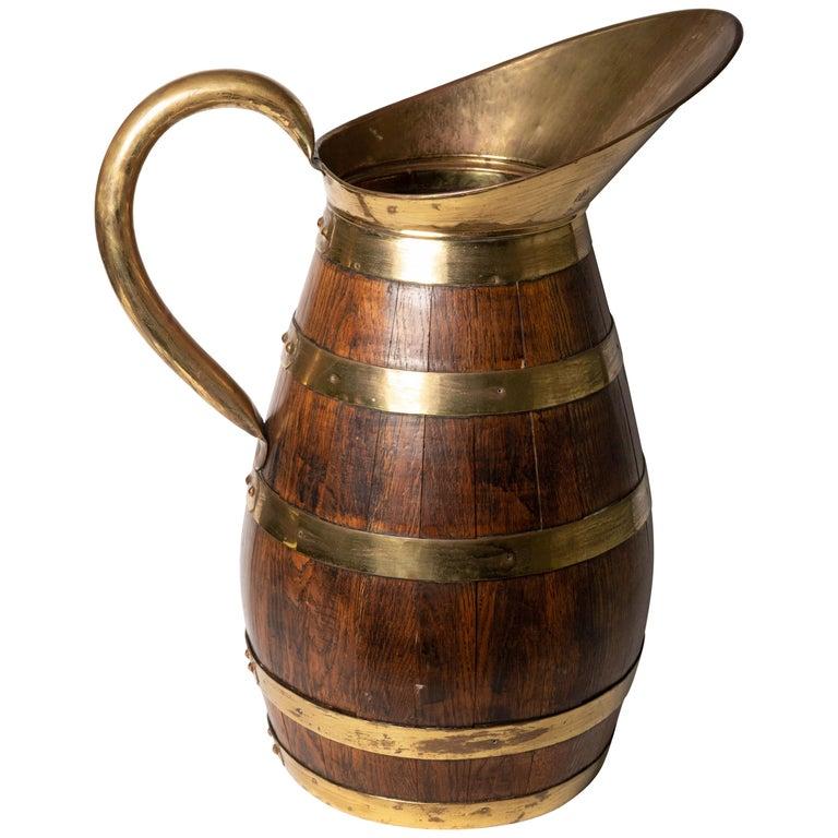 19th Century Antique English Brass Bound Oak Tavern Pitcher For Sale