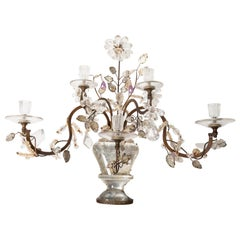 Pair of 19th Century Antique Gilt-Metal Glass and Rock Crystal Candle Sconces