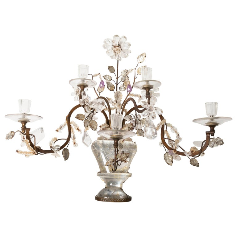 Pair of 19th Century Antique Gilt-Metal Glass and Rock Crystal Candle Sconces For Sale