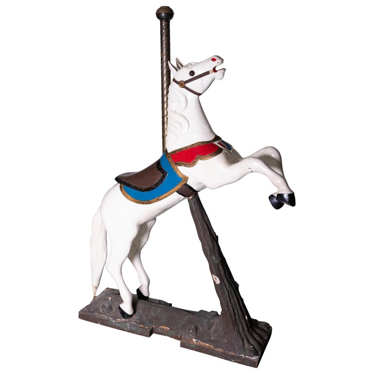 Late 19th Century Wooden Carousel Horse in Fixed Position For Sale