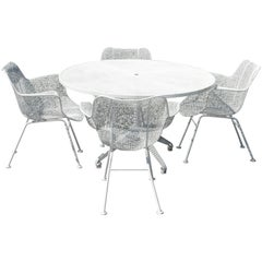 Mid-Century Modern Metal Wire Garden Table with 4 Chairs