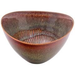 Stig Lindberg Signed Glazed Ceramic Bowl for Gustavberg, Sweden, 1950s