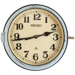 Seiko Ship's Clock in Green Metal Case, 1970s