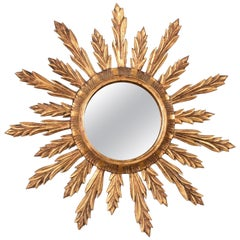 Wall Mirror in Gilded Wood, Giltwood Sunburst Vintage, France 1950s, Lucky Charm