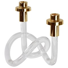 Gold & Lucite Twisted Pretzel Candlestick Holder/Candelabra by Dorothy Thorpe