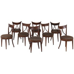 Set of Eight Elmwood Dutch Louis XVI Chairs, 18th Century