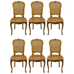Six French Provincial Louis XV Style Italian Cane Back & Seat Dining Side Chairs