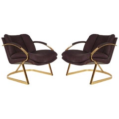 Mid-Century Modern Brass Frame Lounge Chairs or Armchairs after Milo Baughman