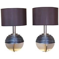 Late 20th Century Pair of Space Age Aluminium & Gold Table Lamps with Shades