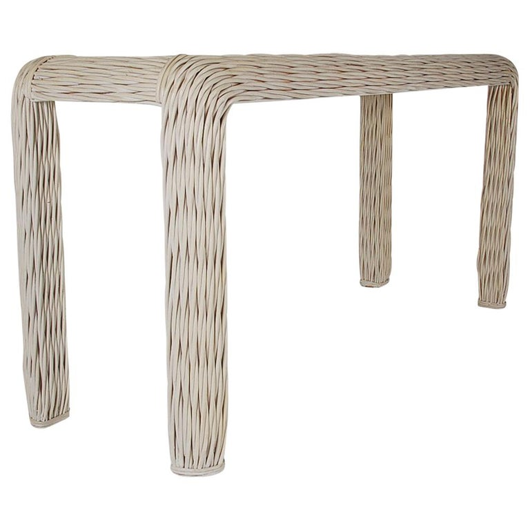 Hollywood Regency White Rattan Woven Console Table Or Sofa Midcentury