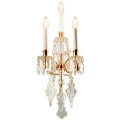 1880s Lobmeyr Polished Antique Gold Three-Arm Wall Sconce with Hand-Cut Crystal