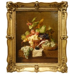 Still Life with Grapes Painting Signed Claudius Pizzetty 1866, French School