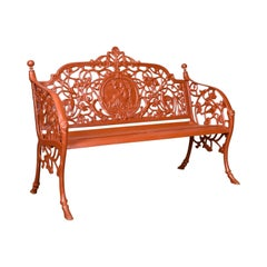 Heavy, Vintage Garden Bench, Cast Iron, In Coalbrookdale Manner, English