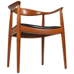 Six Early Hans Wegner for Johannes Hansen JH-503 Chairs in Teak and Leather