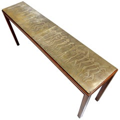 Surrealist Etched Bronze Console Sofa Table in the style of Phillip LaVerne