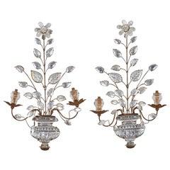Pair of Maison Baguès Art Deco Crystal Sconces