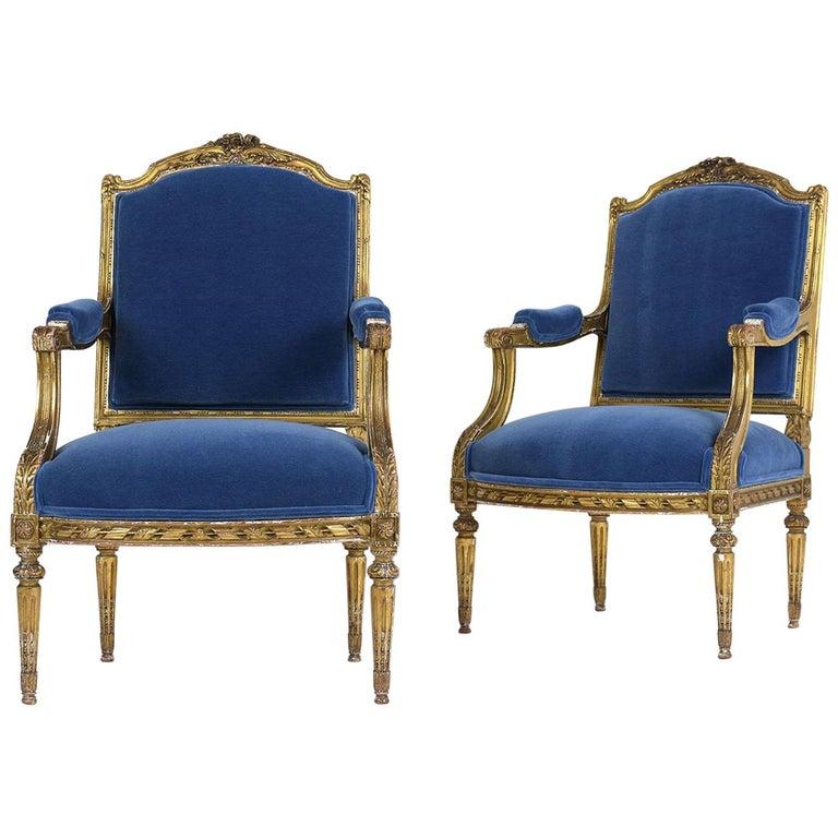 French Louis XVI Style Giltwood Bergeres, circa 19th Century