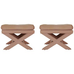 Mid-Century Modern Hollywood Regency X Benches or Stools after Billy Baldwin